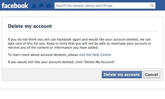 Facebook menu that allows you to delete your Facebook account